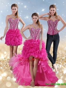 2015 Hot Pink High Low Detachable Prom Skirts with Beading and Ruffled Layers