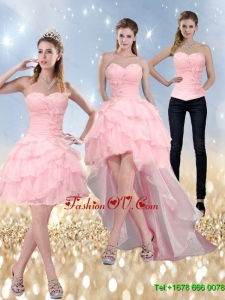 2015 New Style Sweetheart Detachable Prom Dress with Ruffled Layers and Beading