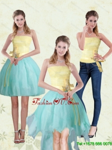 Detachable Strapless High Low 2015 Prom Skirts with Bowknot