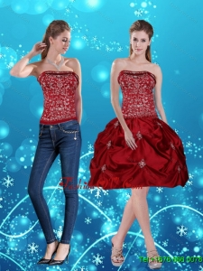 Detachable Wine Red Pretty Strapless 2015 Prom Skirts with Embroidery