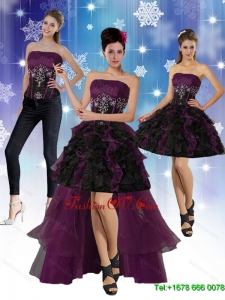High Low Strapless Detachable Prom Skirts with Ruffles and Embroidery