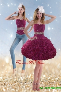 2015 Detachable Beading and Ruffles Prom Detachable in Wine Red