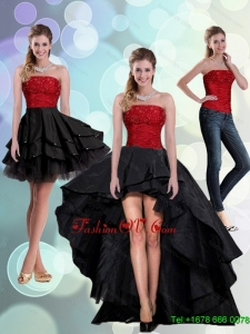2015 Detachable Strapless Beading Prom Skirts in Red and Black