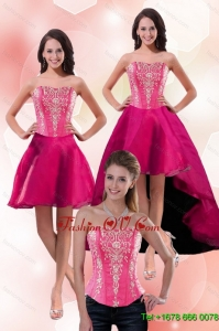 2015 Detachable Strapless Knee Length Prom Skirts with Appliques