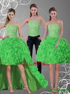 2015 Detachable Strapless Prom Skirts with Beading and Ruffles
