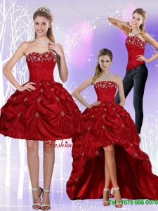 2015 Detachable Strapless Wine Red Prom Skirts with Embroidery