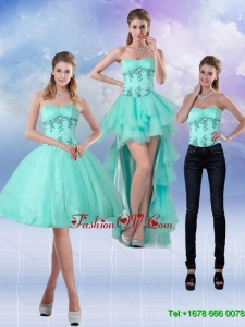 2015 Detachable Sweetheart Apple Green Prom Skirts with Appliques