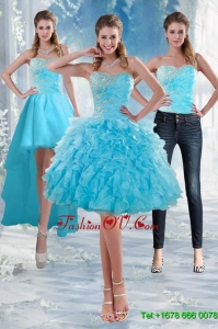 2015 Detachable Sweetheart Baby Blue Prom Skirts with Appliques and Ruffles