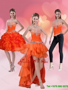 2015 High Low Sweetheart Detachable Prom Skirts with Ruffles and Beading