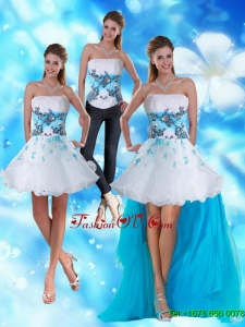 2015 Strapless Detachable Prom Skirts with Appliques and Beading