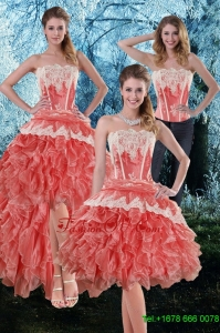 Detachable 2015 Appliques and Ruffles Strapless Prom Skirts in Watermelon
