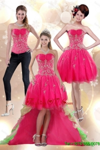 Detachable 2015 High Low Appliques Strapless Prom Skirts