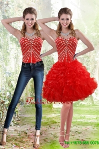 Detachable 2015 Red Prom Skirts with Beading and Ruffles