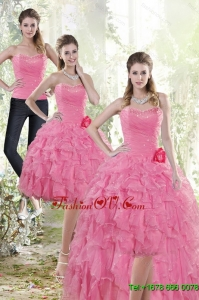 Detachable 2015 Rose Pink Prom Skirts with Beading and Ruffles