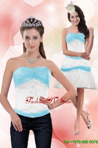 Detachable 2015 Strapless Column Appliques Prom Skirts in White and Blue