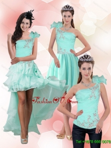 Detachable Apple Green One Shoulder Prom Skirts with Beading for 2015