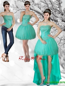 Detachable Apple Green Strapess High Low Prom Skirts with Beading