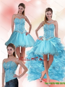Detachable Aqua Blue Sweetheart High Low Prom Skirts with Ruffles and Beading