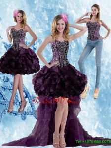Detachable High Low Dark Purple Prom Skirts with Ruffled Layers and Beading