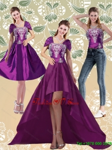 Detachable High Low Embroidery Dark Purple Prom Skirts for 2015