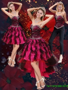 Detachable Multi Color High Low Sweetheart Prom Skirts with Beading and Ruffles