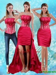 Detachable Strapless Embroidery Red Prom Skirts with Hand Made Flower and Embroidery