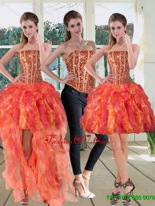 Detachable Strapless Multi Color 2015 Prom Skirts with Beading and Ruffles