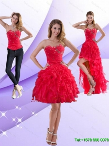 Detachable Strapless Red 2015 Prom Skirts with Ruffles and Beading