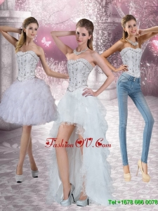Detachable Strapless White Prom Skirts with Ruffles and Beading