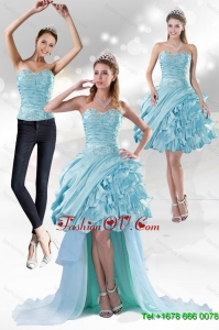 Detachable Sweetheart 2015 Prom Skirts with Beading and Ruffled Layers