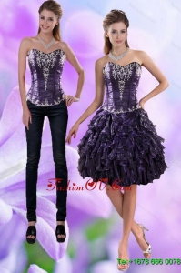 Detachable Sweetheart Dark Purple 2015 Prom Skirts with Appliques and Ruffles