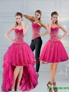 Detachable Sweetheart Hot Pink 2015 Prom Skirts with Appliques