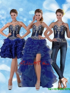 Detachable Sweetheart Prom Skirts with Ruffled Layers and Embroidery
