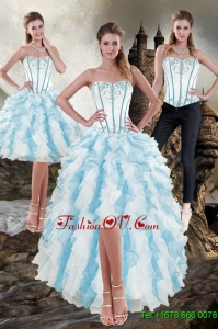 Detachable Sweetheart White and Blue 2015 Prom Skirts with Appliques and Ruffles