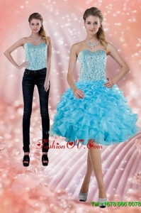 2015 Detachable Baby Blue Prom Skirts with Beading and Ruffles
