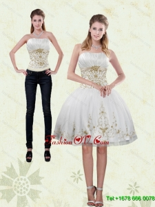 2015 Detachable Strapless Knee Length White Prom Skirts with Appliques