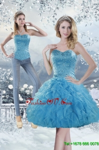 2015 Detachable Sweetheart Aqua Blue Prom Skirts with Beading and Ruffles