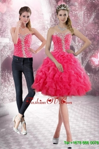 2015 Detachable Sweetheart Prom Skirts with Beading and Ruffles