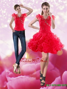 Detachable 2015 Knee Length Red Prom Skirts with Beading and Ruffles