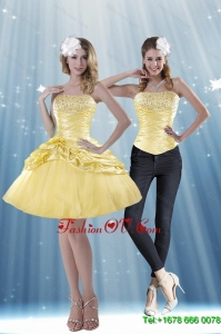 Detachable 2015 Strapless Beading and Pick Ups Prom Skirts in Yellow