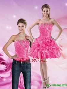 Detachable 2015 Strapless Hot Pink Prom Skirts with Beading and Ruffles