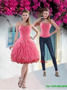 Detachable 2015 Strapless Watermelon Prom Skirts with Beading and Ruffles