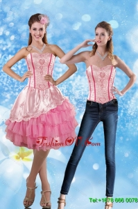 Detachable 2015 Sweetheart Embroidery Prom Skirts in Rose Pink