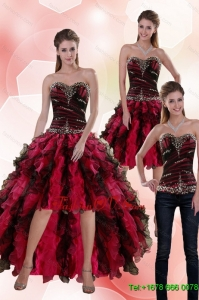 Detachable 2015 Sweetheart Multi Color Prom Skirts with Beading and Ruffles