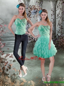 Detachable 2015 Sweetheart Prom Skirts with Beading and Ruffles