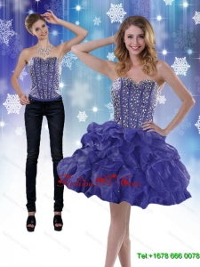 Detachable 2015 Sweetheart Royal Blue Prom Skirts with Beading and Ruffles