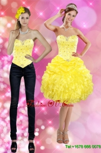 Detachable 2015 Sweetheart Yellow Prom Skirts with Beading and Ruffles
