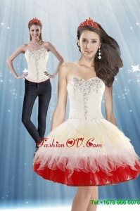 Detachable 2015 White and Red Prom Skirts with Beading and Ruffled Layers