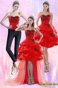 Detachable Red Strapless 2015 Prom Skirts with Appliques and Pick Ups