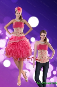 Detachable Strapless 2015 Prom Skirts with Appliques and Ruffles